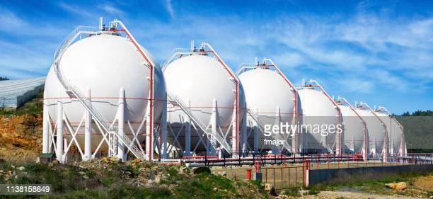 pressurized gas tanks - gas tank stock photos and pictures