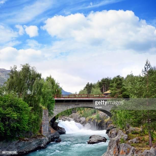 Prestfossen waterfall in Lom, Norway