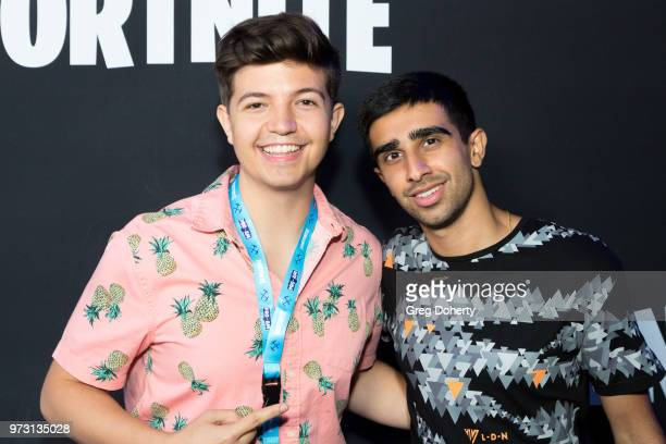 Preston Arsement AKA TBNRFrags and Vikkstar123 attend the Epic Games Hosts Fortnite Party Royale on June 12 2018 in Los Angeles California