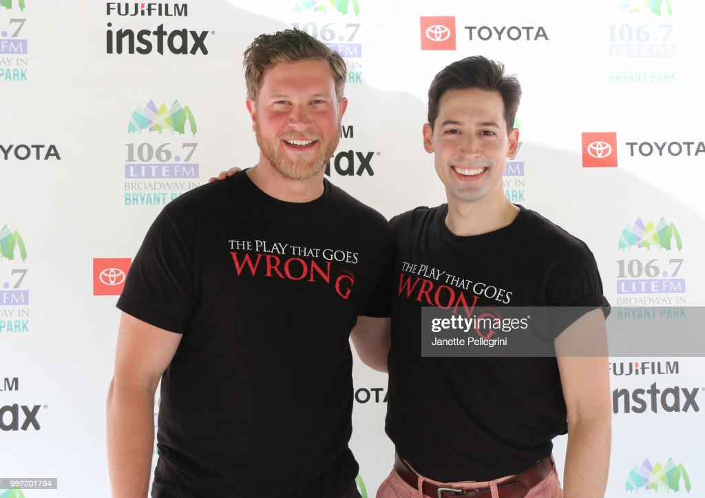 Preston Boyd and Alex Mandell from the cast of 'The Play That Goes Wrong' attends 106.7 LITE FM's Broadway In Bryant Park at Bryant Park on July 12, 2018 in New York City.