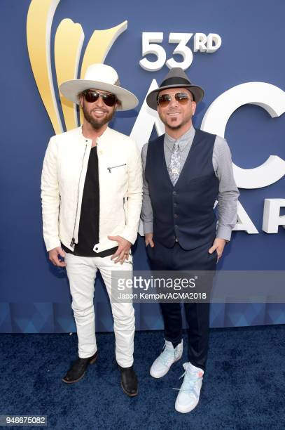 Preston Brust and Chris Lucas of LOCASH attend the 53rd Academy of Country Music Awards at MGM Grand Garden Arena on April 15 2018 in Las Vegas Nevada