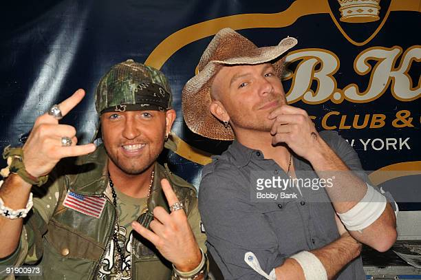 Preston Brust and Chris Lucas of LoCash Cowboys backstage at at BB King Blues Club Grill on October 14 2009 in New York City