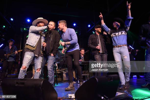 Preston Brust of LoCash Tyler Farr Michael Ray Cole Swindell and Chris Lane perform at Marathon Music Works on March 13 2018 in Nashville Tennessee
