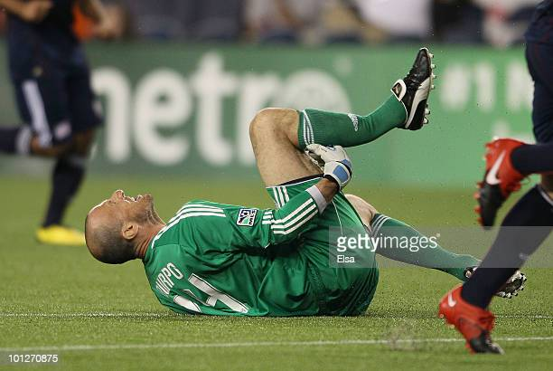 Preston Burpo of the New England Revolution reacts after Dane Richards of the New York Red Bulls stepped on his leg on May 29 2010 at Gillette...