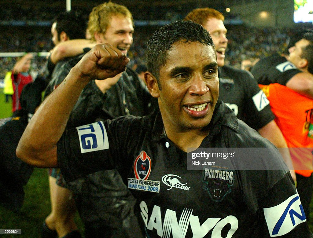Preston Campbell #6 of the Panthers celebrates victory during the NRL Grand Final between the Sydney Roosters and the Penrith Panthers at Telstra Stadium October 5, 2003 in Sydney, Australia. Penrith won 18-6.