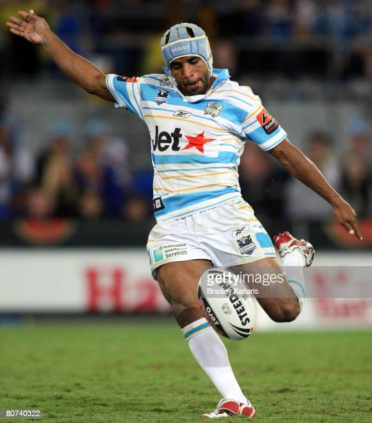 Preston Campbell of the Titans kicks the ball during the round six NRL match between the Gold Coast Titans and the Brisbane Broncos at Skilled...