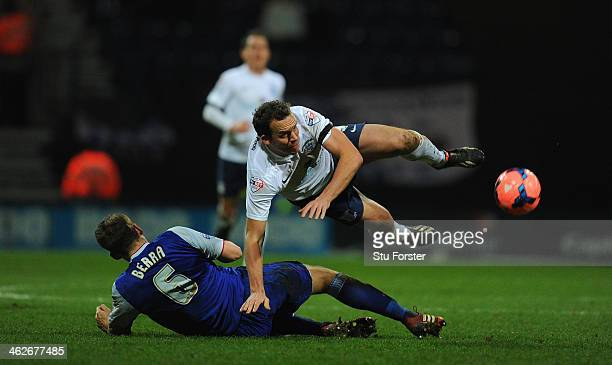 Preston forward Kevin Davies is fouled by Christophe Berra during the Budweiser FA Cup Third Round Replay between Preston North End and Ipswich Town...