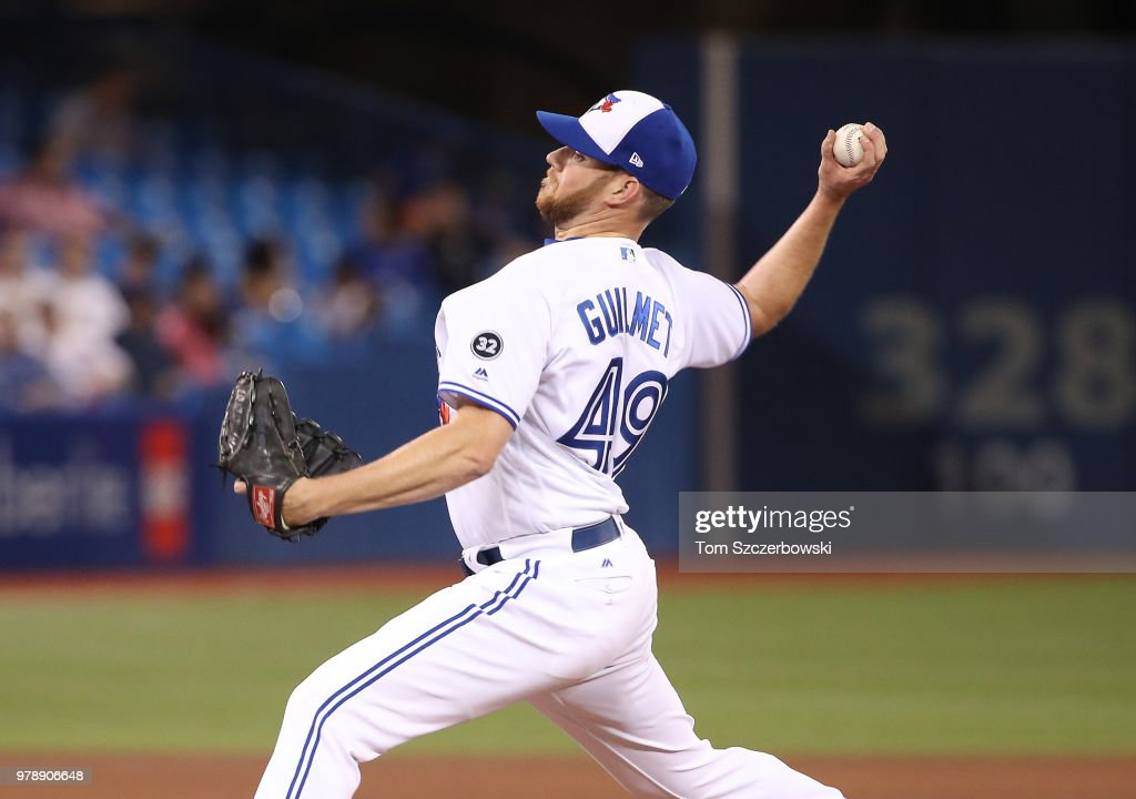 Preston Guilmet #49 of the Toronto Blue Jays delivers a pitch in the eighth inning during MLB game action against the Atlanta Braves at Rogers Centre on June 19, 2018 in Toronto, Canada.