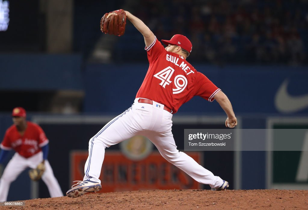 Preston Guilmet #49 of the Toronto Blue Jays delivers a pitch in the ninth inning during MLB game action against the Detroit Tigers at Rogers Centre on July 1, 2018 in Toronto, Canada.