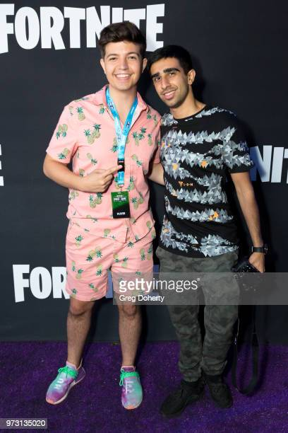 Preston Hartsmith AKA TBNRFrags and Vikkstar123 attend the Epic Games Hosts Fortnite Party Royale on June 12 2018 in Los Angeles California