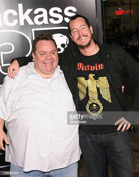 Preston Lacy and Ehren McGhehey arrive at the Jackass 3D Los Angeles Premiere at the Mann's Chinese Theater on October 13 2010 in Los Angeles...