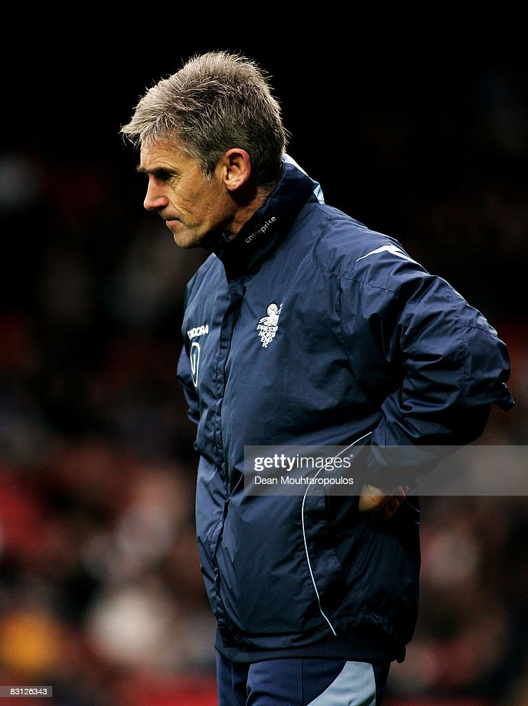 Preston Manager Alan Irvine looks frustrated during the Coca-Cola Championship match between Watford and Preston North End at Vicarage Road on October 04, 2008 in Watford, England.