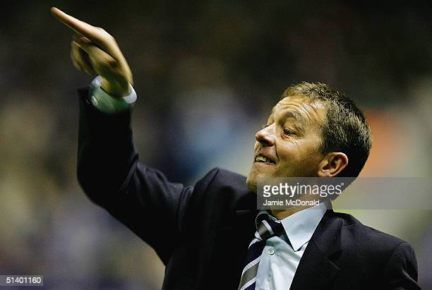 Preston manager Billy Davies gives orders during the Carling Cup second round match between Leicester City and Preston North End on October 4 2004 at...