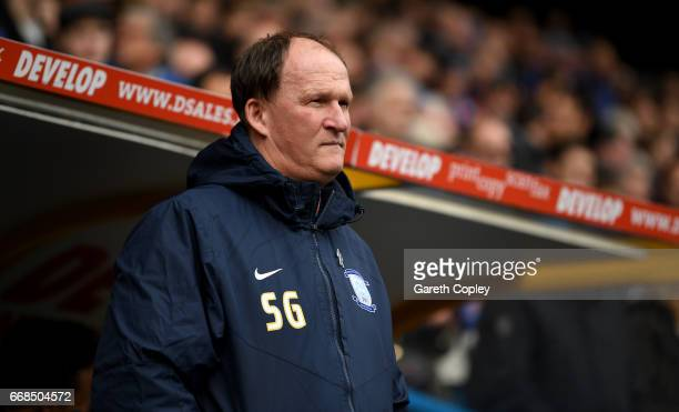 Preston manager Simon Grayson during the Sky Bet Championship match between Huddersfield Town and Preston North End at Galpharm Stadium on April 14...