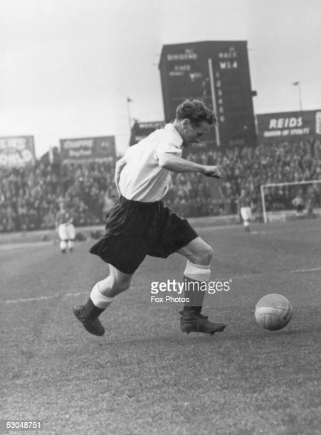 Preston North End and England outside right, Tom Finney, in action during a match between the England World Cup team and a Canadian touring side at...