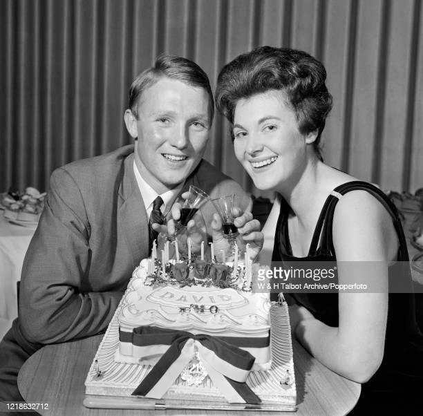 Preston North End footballer Dave Wilson with girlfriend Ely Graham, celebrating his 21st birthday party, ten days early at the Five Barred Gate...
