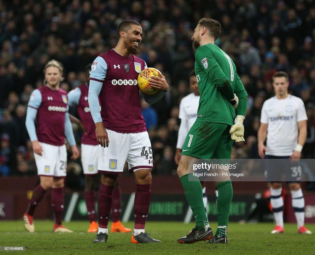Preston North End goalkeeper Declan Rudd tries to put Aston Villa's Lewis Grabban off before his penalty during the Sky Bet Championship match at Villa Park, Birmingham.