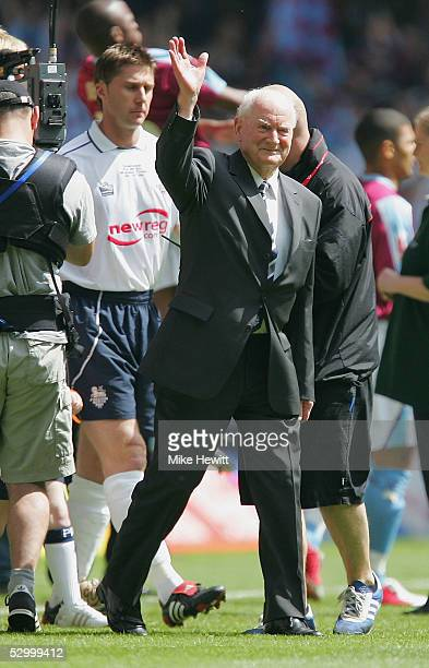 Preston North End legend Tom Finney leads his team out before the start of the Coca-Cola Championship Play-Off Final between West Ham United and...