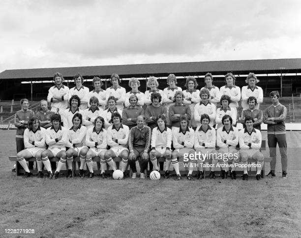 Preston North End line up for a team photograph at Deepdale in Preston England circa July 1975 Back row Stuart Baxter Mark Lawrenson Steve Jenkins...