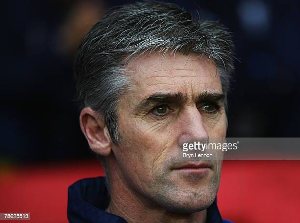 Preston North End Manager Alan Irvine keeps an eye on his team during the CocaCola Championship match between Southampton and Preston North End at St...