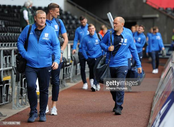Preston North End manager Alex Neil arrives for the Sky Bet Championship match between Swansea City and Preston North End at the Liberty Stadium on...