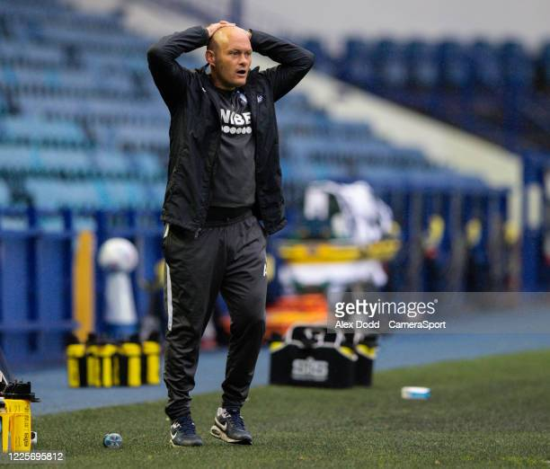 Preston North End manager Alex Neil reacts to a missed opportunity during the Sky Bet Championship match between Sheffield Wednesday and Preston...