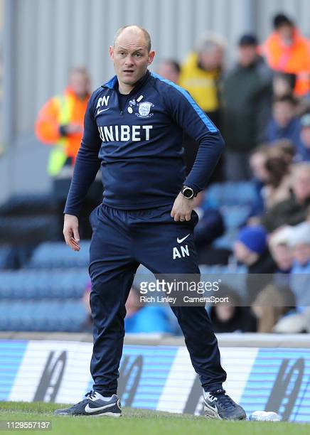 Preston North End manager Alex Neil watches on from the technical area during the Sky Bet Championship match between Blackburn Rovers and Preston...