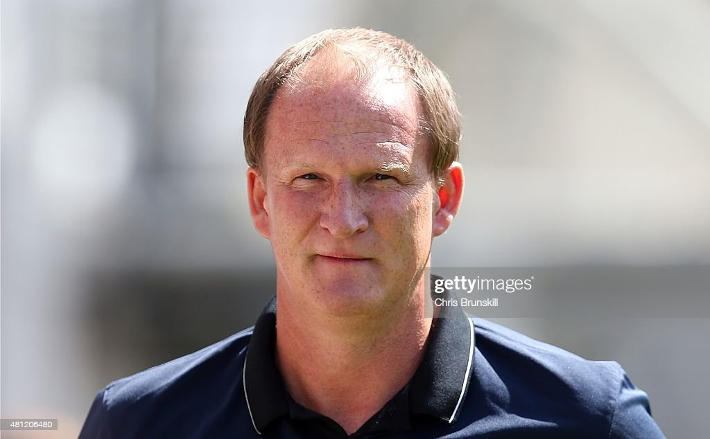 Preston North End manager Simon Grayson looks on during the pre season friendly match between Preston North End and Hearts at Deepdale on July 18, 2015 in Preston, England.