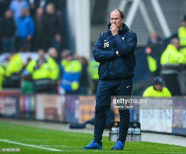 Preston North End Manager Simon Grayson stands on the sidelines during the Sky Bet Championship Match between Preston North End and Newcastle United...