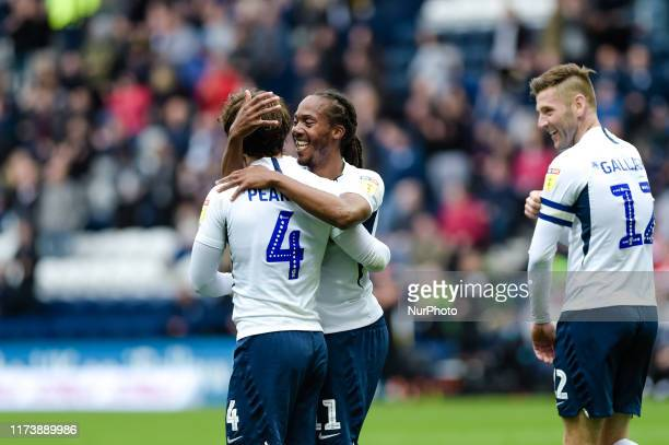 Preston North End midfielder Daniel Johnson congratulates goalscorer Preston North End midfielder Ben Pearson during the Sky Bet Championship match...