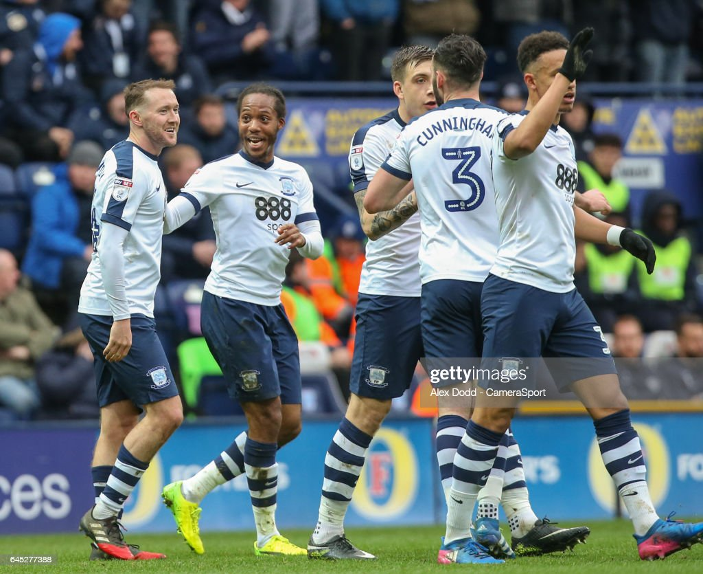 Preston North End players celebrate after Aidan McGeady, left, scored an equaliser during the Sky Bet Championship match between Preston North End and Queens Park Rangers at Deepdale on February 25, 2017 in Preston, England.