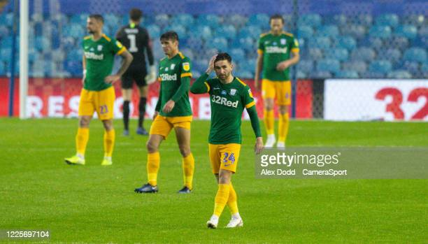 Preston North End players react to going 10 down during the Sky Bet Championship match between Sheffield Wednesday and Preston North End at...