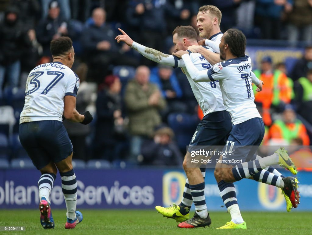 Preston North End's Aidan McGeady celebrates scoring his sides equalising goal to make the score 1-1 during the Sky Bet Championship match between Preston North End and Queens Park Rangers at Deepdale on February 25, 2017 in Preston, England.