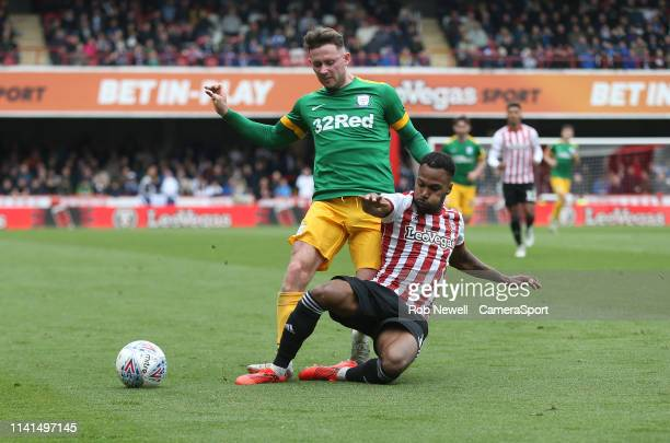 Preston North End's Alan Browne and Brentford's Rico Henry during the Sky Bet Championship match between Brentford and Preston North End at Griffin...