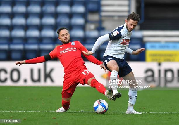 Preston North End's Alan Browne battles with Birmingham City's Ivan Sanchez during the Sky Bet Championship match between Preston North End and...