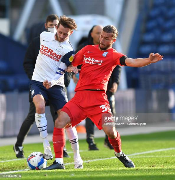 Preston North End's Alan Browne battles with Birmingham City's Ivan Sunjic during the Sky Bet Championship match between Preston North End and...