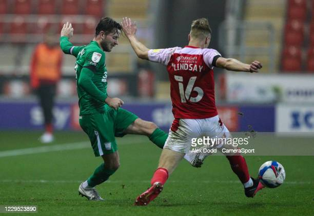 Preston North End's Alan Browne battles with Rotherham United's Jamie Lindsay during the Sky Bet Championship match between Rotherham United and...