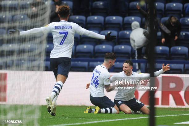 Preston North End's Alan Browne celebrates scoring his side's third goal with teammate Sean Maguire during the Sky Bet Championship match between...