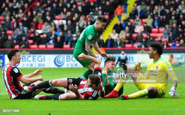 Preston North End's Alan Browne celebrates scoring the opening goal with teammate Sean Maguire during the Sky Bet Championship match between...
