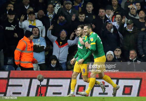 Preston North End's Alan Browne celebrates with teammate David Nugent after scoring the opening goal during the Sky Bet Championship match between...