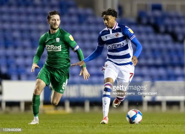 Preston North End's Alan Browne competing with Reading's Michael Olise during the Sky Bet Championship match between Reading and Preston North End at...