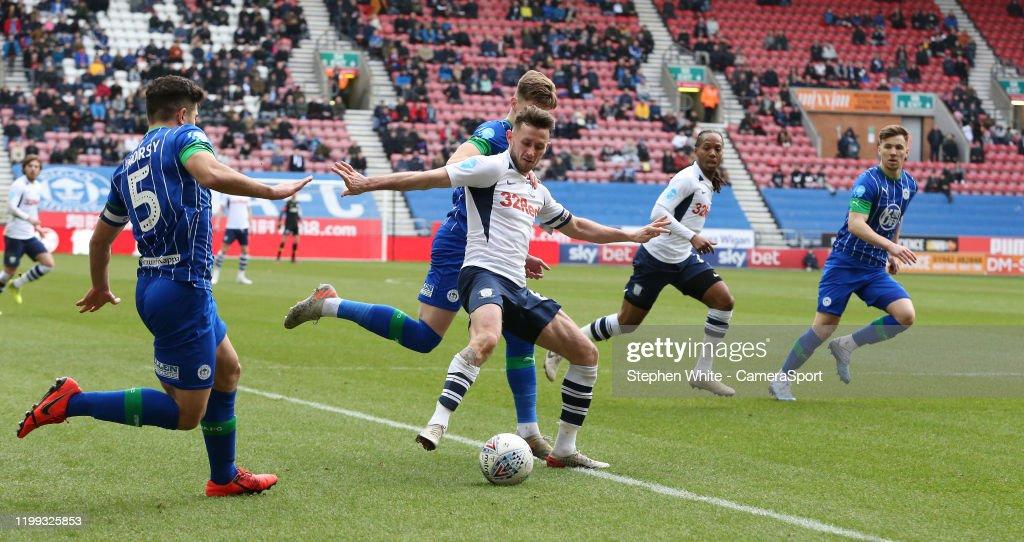 Wigan Athletic v Preston North End - Sky Bet Championship : Nieuwsfoto's