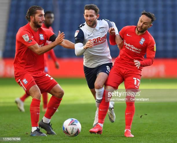 Preston North End's Alan Browne finds a way past Birmingham City's Ivan Sunjic and Ivan Sanchez during the Sky Bet Championship match between Preston...
