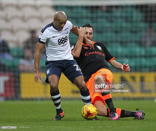 Preston North End's Alex JohnBaptiste battles with Sheffield Wednesday's Atdhe Nuhiu during the Sky Bet Championship match between Preston North End...