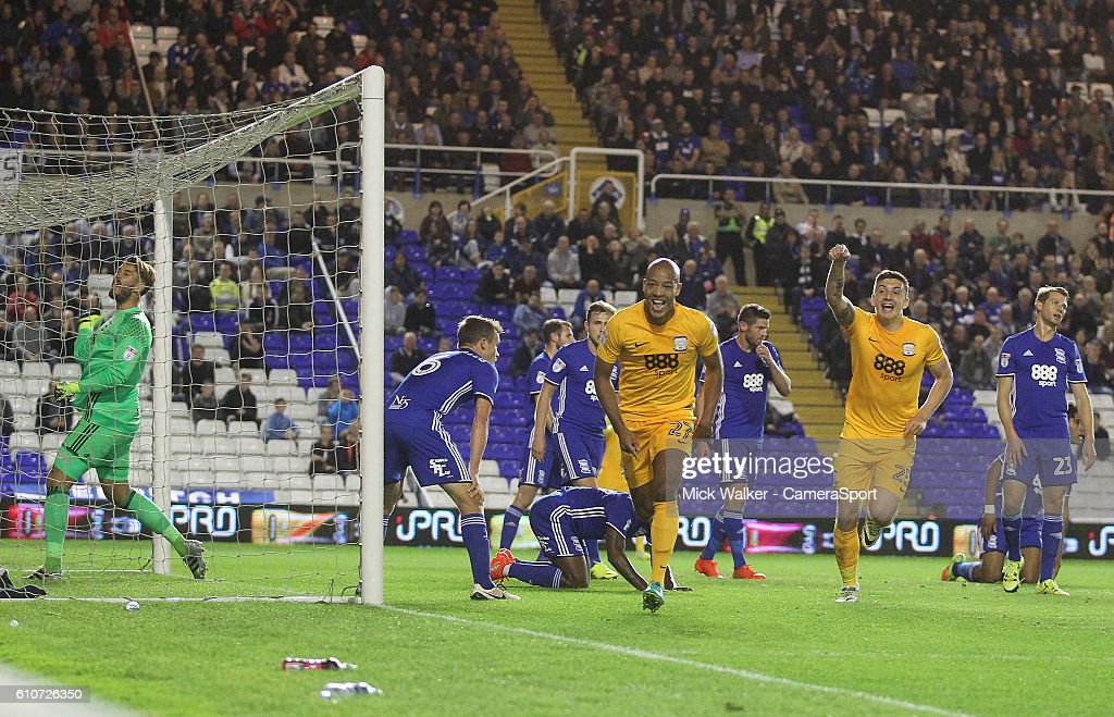 Preston North End's Alex John-Baptiste celebrates scoring his sides first goal during the Sky Bet Championship match between Birmingham City and Preston North End at St Andrews (stadium) on September 27, 2016 in Birmingham, England.