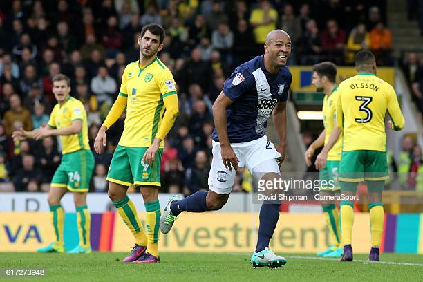 Preston North End's Alex JohnBaptiste celebrates scoring his sides first goal during the Sky Bet Championship match between Norwich City and Preston...