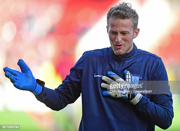 Preston North Ends Anders Lindegaard during the prematch warmup before the Sky Bet Championship match between Rotherham United and Preston North End...
