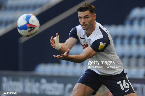 Preston North End's Andrew Hughes during the Sky Bet Championship match between Preston North End and Swansea City at Deepdale on September 12 2020...