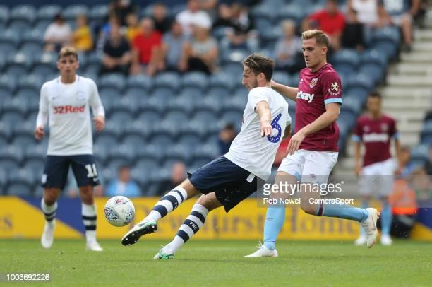 PRESTON ENGLAND JULY Preston North End's Ben Davies and West Ham United's Toni Martinez at Deepdale on July 21 2018 in Preston England