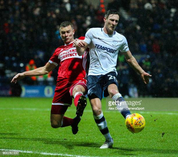 Preston North End's Ben Davies battles with Middlesbrough's Ben Gibson during the Sky Bet Championship match between Preston North End and...